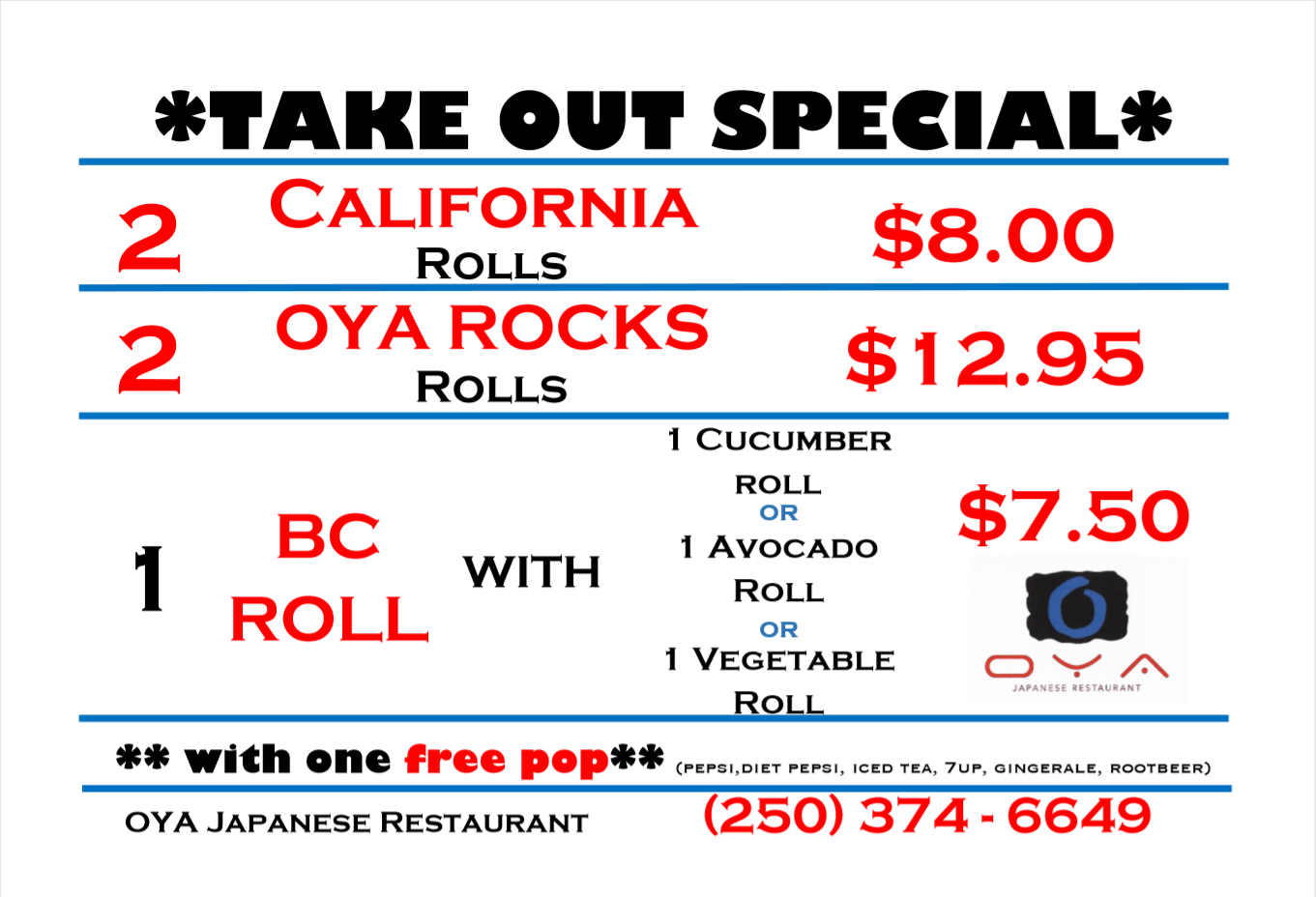 OYA Sushi take out special